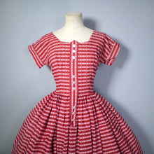 Load image into Gallery viewer, BRIGHT RED 50s DIRNDL STYLE FULL SKIRTED COTTON DAY DRESS - XS-S