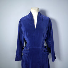 Load image into Gallery viewer, 40s BLUE VELVET LONG SLEEVED DRESS WITH BEADED HIP DRAPE - M-L