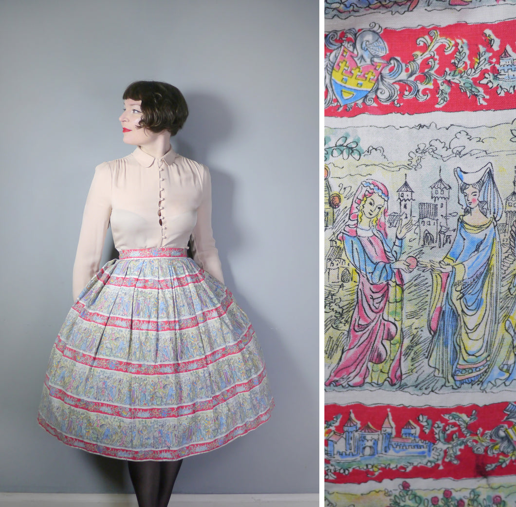 50s VINTAGE NOVELTY MEDIEVAL COURT PRINT FULL SKIRT - 27