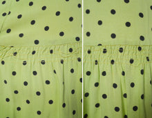 Load image into Gallery viewer, 30s 40s LIME GREEN AND BLACK POLKA DOT TEA DRESS WITH VELVET TRIMS - XS-S