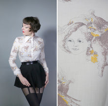 Load image into Gallery viewer, NOVELTY 70s SHIRT IN LADY FACE AND BIRD PRINT BY LISA-JANE - S-M