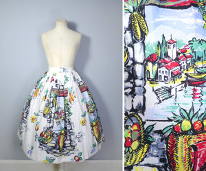50s SCENIC WINDOW LANDSCAPE PRINT HOLIDAY SUMMER FULL SKIRT - 26""