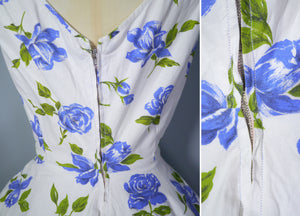 50s HANDMADE BLUE ROSE FULL CIRCLE SWEEP COTTON DRESS - S-M