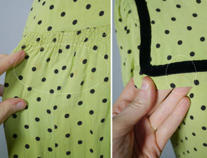 30s 40s LIME GREEN AND BLACK POLKA DOT TEA DRESS WITH VELVET TRIMS - XS-S