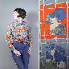 Load image into Gallery viewer, 70s ART NOUVEAU LADY PORTRAIT PRINT SHIRT / BLOUSE - M-L