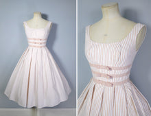 Load image into Gallery viewer, 50s CANDY STRIPE PINK FULL SKIRTED DAY DRESS WITH BOWS BY KANDY KOTTON - XS / PETITE FIT