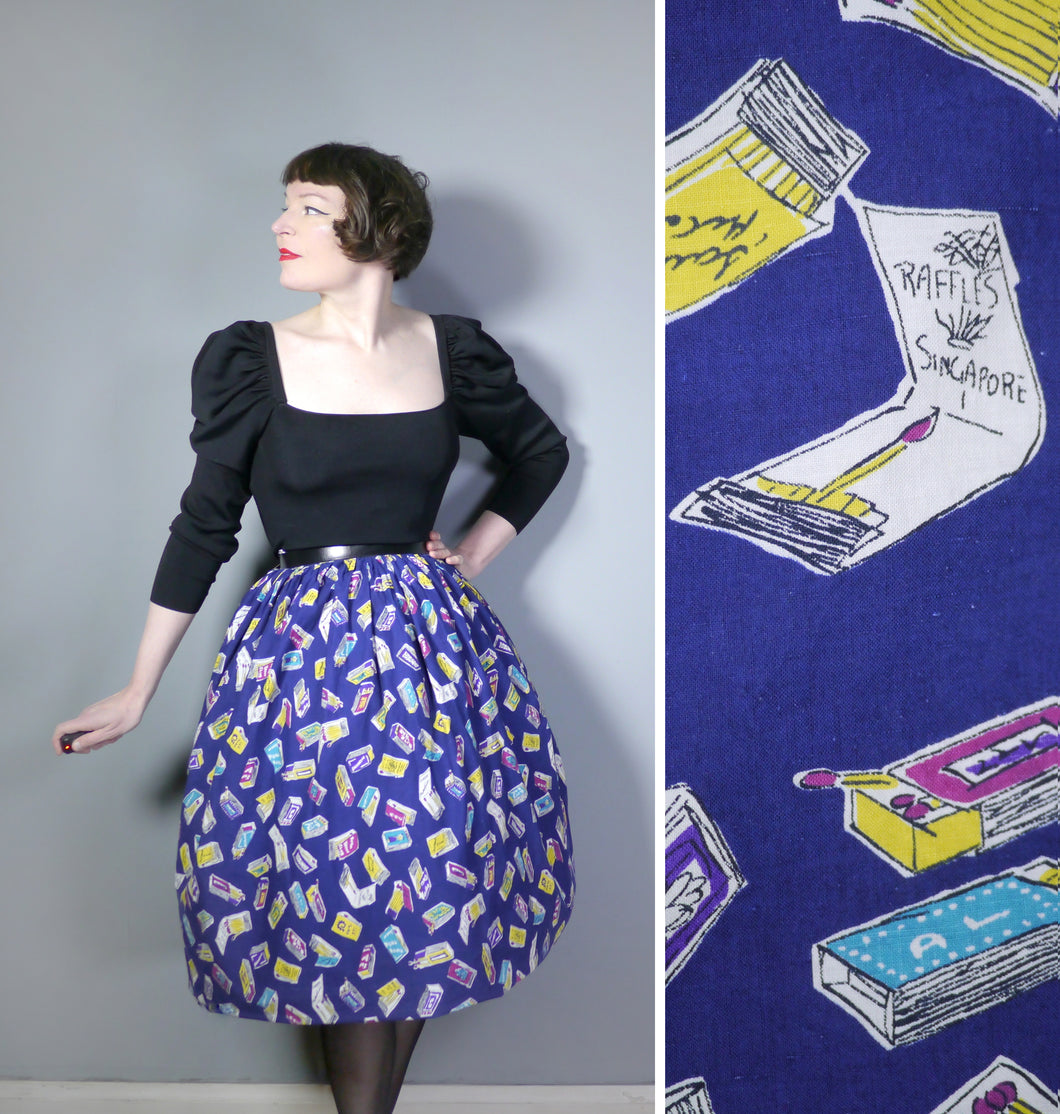 50s NOVELTY MATCHBOX AND MATCHSTICK PRINT SKIRT - 24