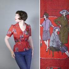 Load image into Gallery viewer, RED 70s NOVELTY DECO STYLE FASHION ADVERTISING PRINT BLOUSE TOP - S-M