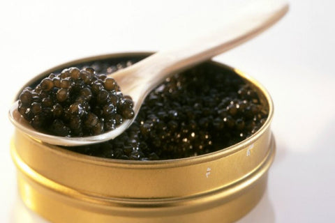 caviar with wooden spoon