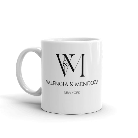 Betty en NY Valencia & Mendoza Stacked Logo White Mug