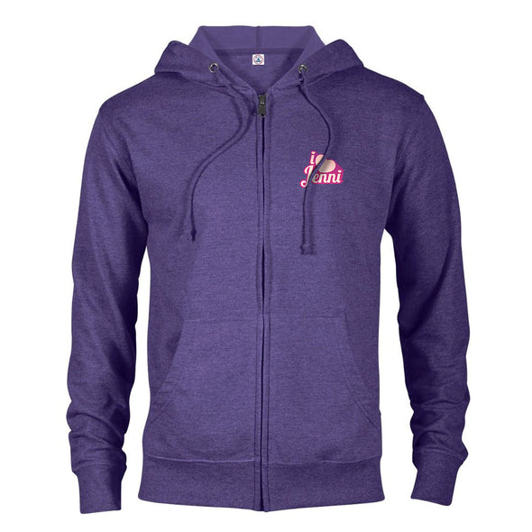 I Love Jenni Logo Lightweight Zip Up Hooded Sweatshirt