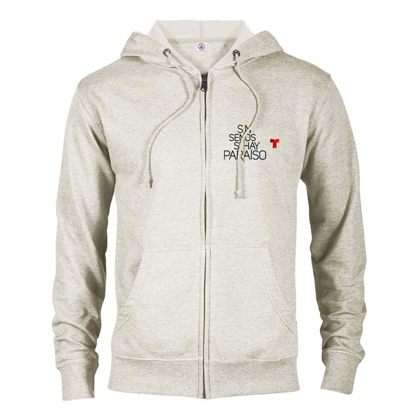 Sin Senos Sí Hay Paraíso Logo Lightweight Zip Up Hooded Sweatshirt