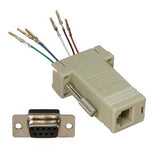 DB9 Female to Modular RJ11 RJ12  Adapter, Ivory
