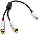 "Pro Version 3.5MM (1/8"") Female to (2) RCA Male Speaker/Headset/AUX (Auxiliary) Y Cable - Deep Surplus"