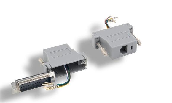 DB25 Male to Modular RJ11 RJ12 Adapter, Gray