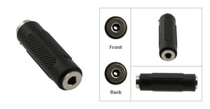 3.5MM Stereo Female to 3.5MM Stereo Female Coupler, Plastic Housing, Nickel Contacts - Deep Surplus