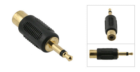 3.5mm Male Mono to RCA Female Adapter, Plastic Housing, Gold Contacts - Deep Surplus