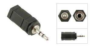 3.5mm Stereo Female Jack to 2.5mm Stereo Male Plug Adapter, Plastic Housing, Nickel Contacts - Deep Surplus
