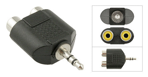 3.5mm Stereo Male Plug to (2) RCA Female Jack Adapter, Plastic Housing, Nickel Contacts - Deep Surplus