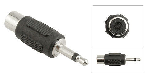 3.5mm Male Mono to RCA Female Adapter, Plastic Housing, Nickel Contacts - Deep Surplus