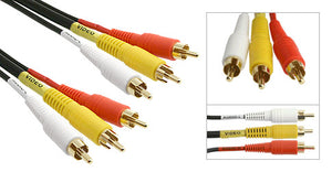 Premium (3) RCA Male to (3) RCA Male Shielded Composite A/V Cable; Video (RG59) & Audio (left/right), Gold Plated Connectors - Deep Surplus