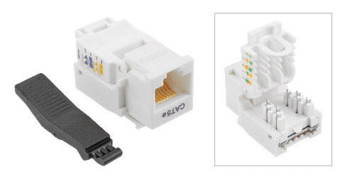 Cat 5E White Toolless Type Keystone Jack