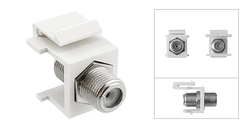 Keystone Style Female to Female F-Type Coaxial Snap In Module for Wallplate - Deep Surplus