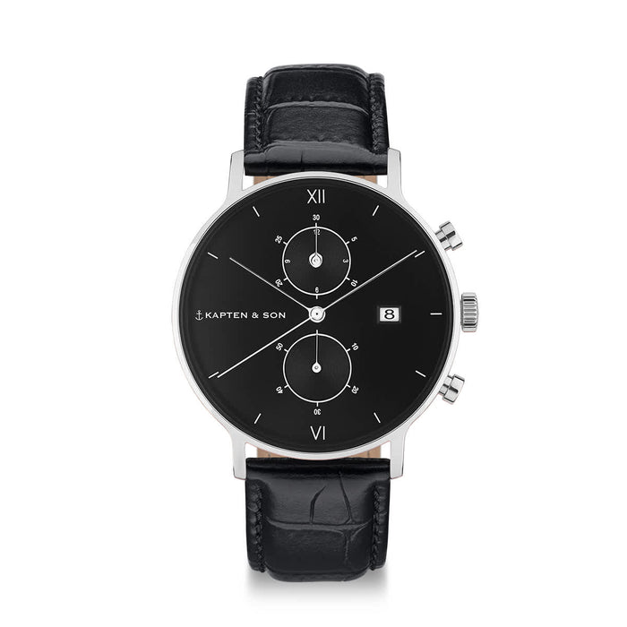 "Chrono Silver ""All Black Croco Leather"" - kapten & Son - South Africa"
