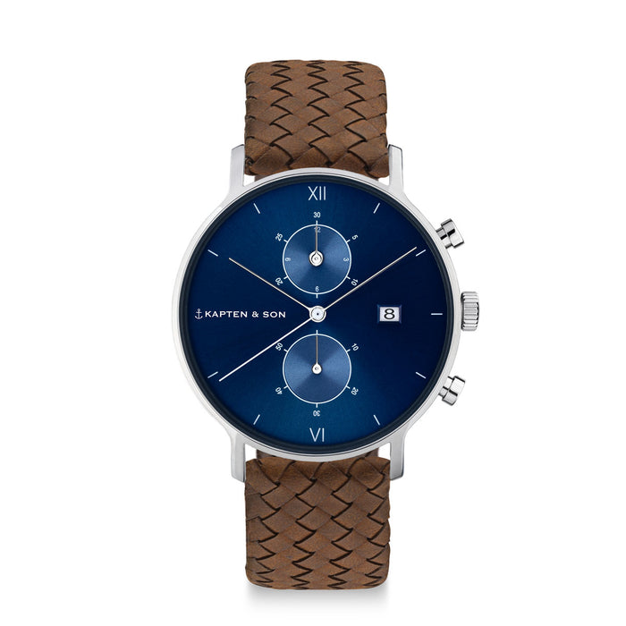 "Chrono Silver ""Blue Brown Woven Leather"" - kapten & Son - South Africa"