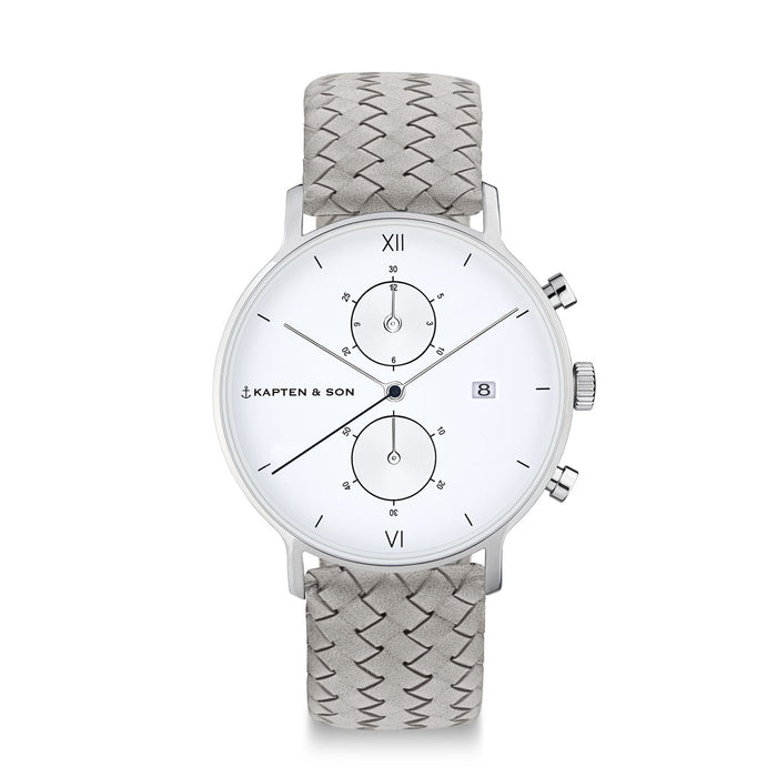 "Chrono Silver ""Grey Woven Leather"" - kapten & Son - South Africa"