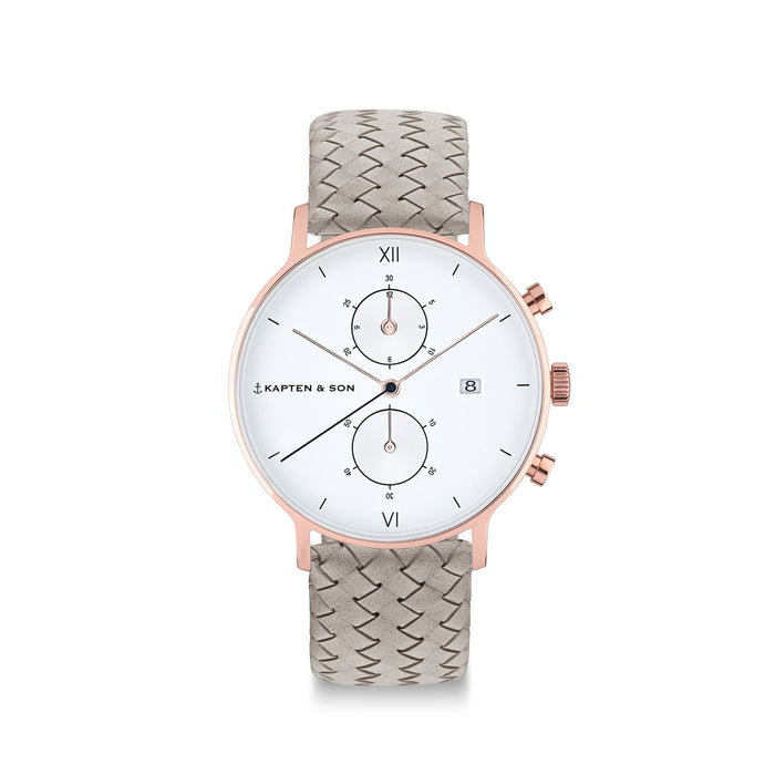 "Chrono Small ""Grey Woven Leather"" - kapten & Son - South Africa"