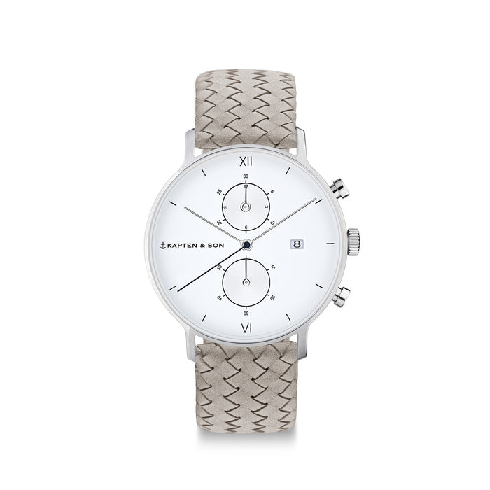 "Chrono Small Silver ""Grey Woven Leather"" - kapten & Son - South Africa"