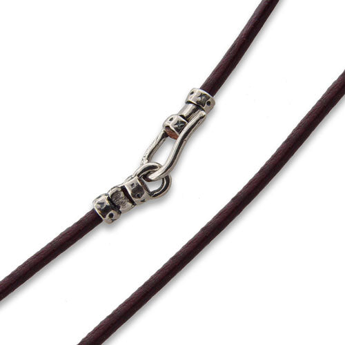 "1.5mm 18"" Brown Leather Cord Necklace w/ Sterling Silver Hook Clasp"