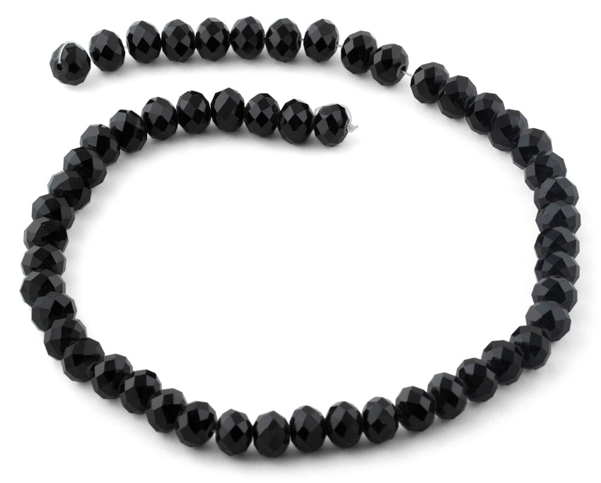 10mm Black  Faceted Rondelle Crystal Beads