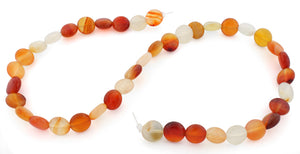 10mm Coin Natural Carnelian Gem Stone Beads