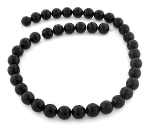 10mm Faceted Round Black Onyx Gem Stone Beads