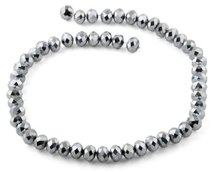 10mm Grey Faceted Rondelle Crystal Beads