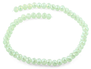 10mm Light Green  Faceted Rondelle Crystal Beads