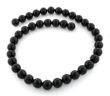 Load image into Gallery viewer, 10mm Plain Round Black Agate Gem Stone Beads