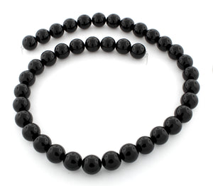 10mm Plain Round Black Agate Gem Stone Beads