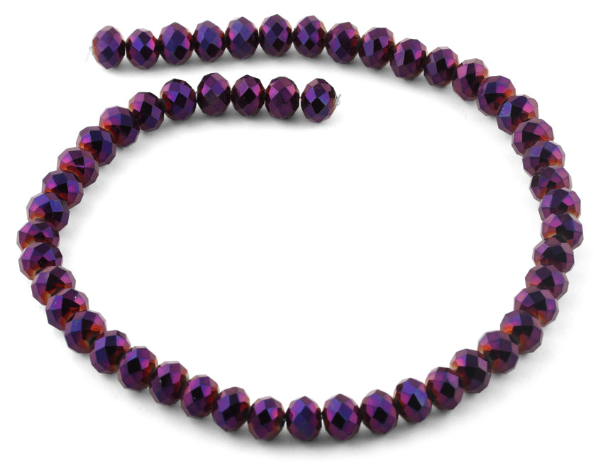 10mm Purple Faceted Rondelle Crystal Beads
