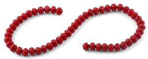 10mm Red Faceted Rondelle Crystal Beads