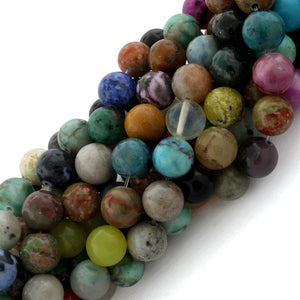 10mm Round Multi-Stones Gem Stone Beads