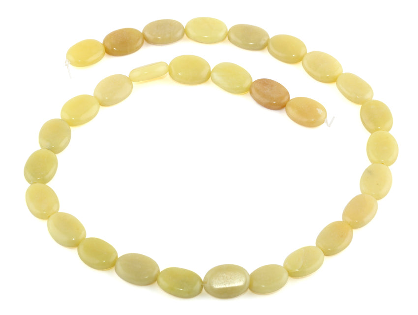 10x14MM Olive Jade Puffy Oval Gemstone Beads