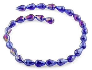 10x15mm Purple Drop Faceted Crystal Beads