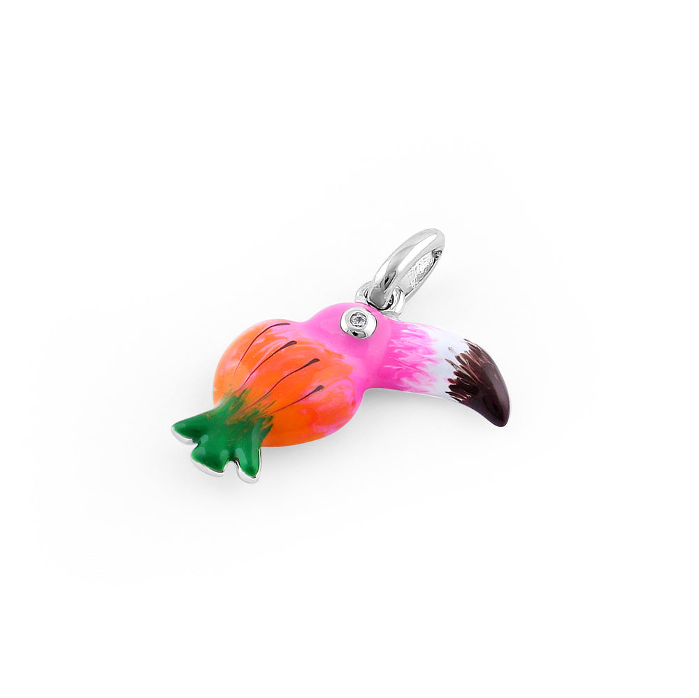 Sterling Silver Hand-Painted Pineapple Toucan CZ Pendant