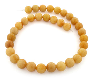 12mm Yellow Jade Gem Stone Beads