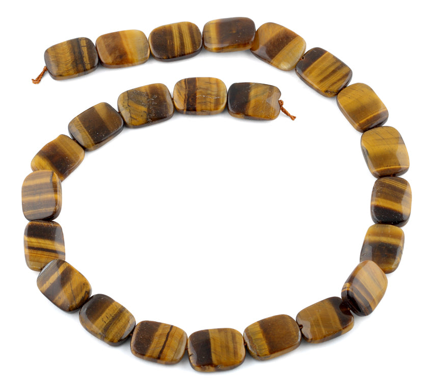 12x16MM Tiger Eye Puffy Rectangular Gemstone Beads