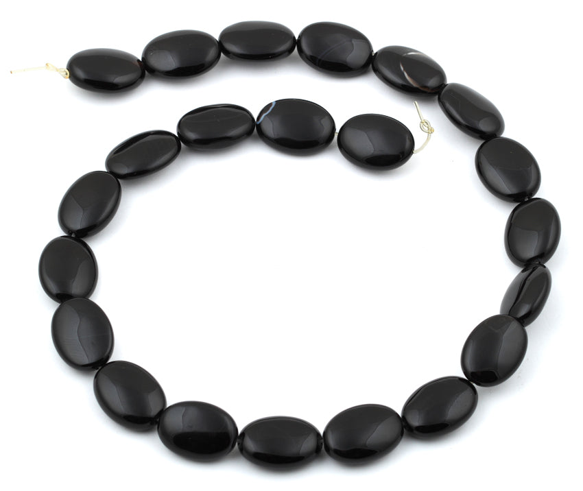 13x18MM Black Agate Oval Gemstone Beads