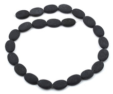 Load image into Gallery viewer, 13x18MM Frosted Blackstone Oval Gemstone Beads